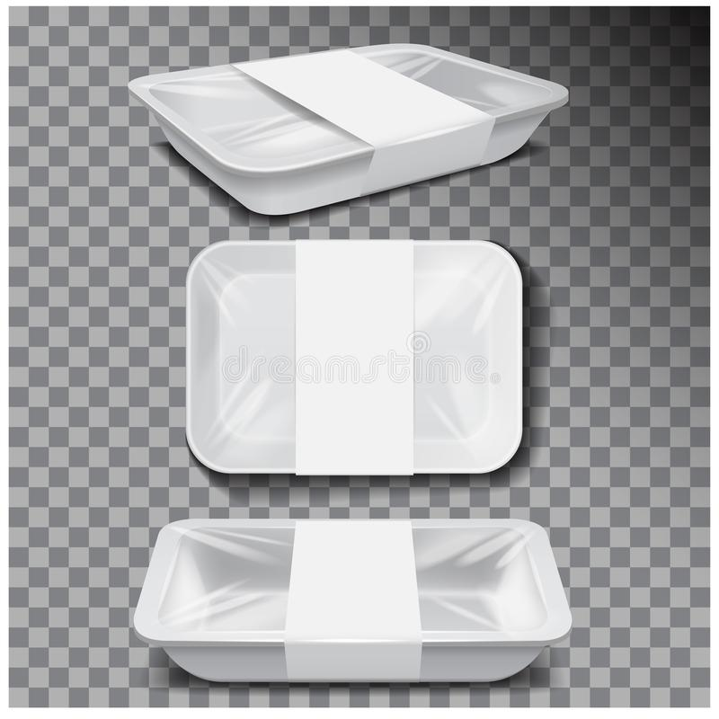 Styrofoam food storage. White food plastic tray, dark foam meal container, empty box for food vector illustration. For your design stock illustration