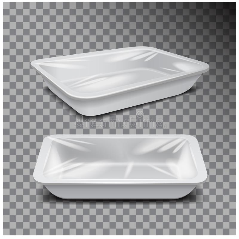 Styrofoam food storage. White food plastic tray, dark foam meal container on transparent background. For your design royalty free illustration