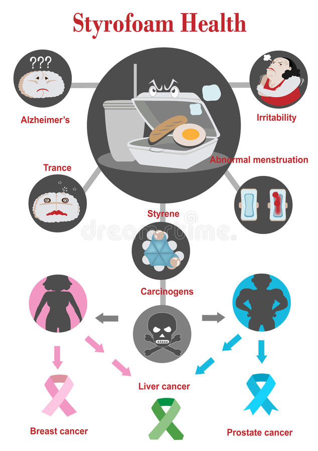 Styrofoam health. The health dangers of Styrofoam Info graphics Vector Illustration vector illustration