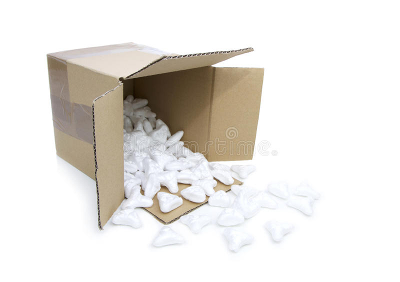 Styrofoam peanuts for the protection of fragile packages on white background. stock image