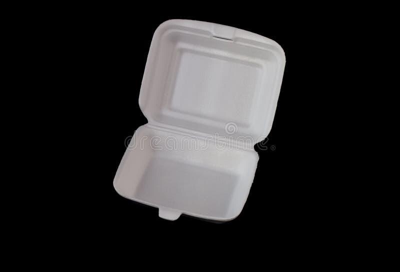 Styrofoam pudełko na czarnym tle obrazy royalty free