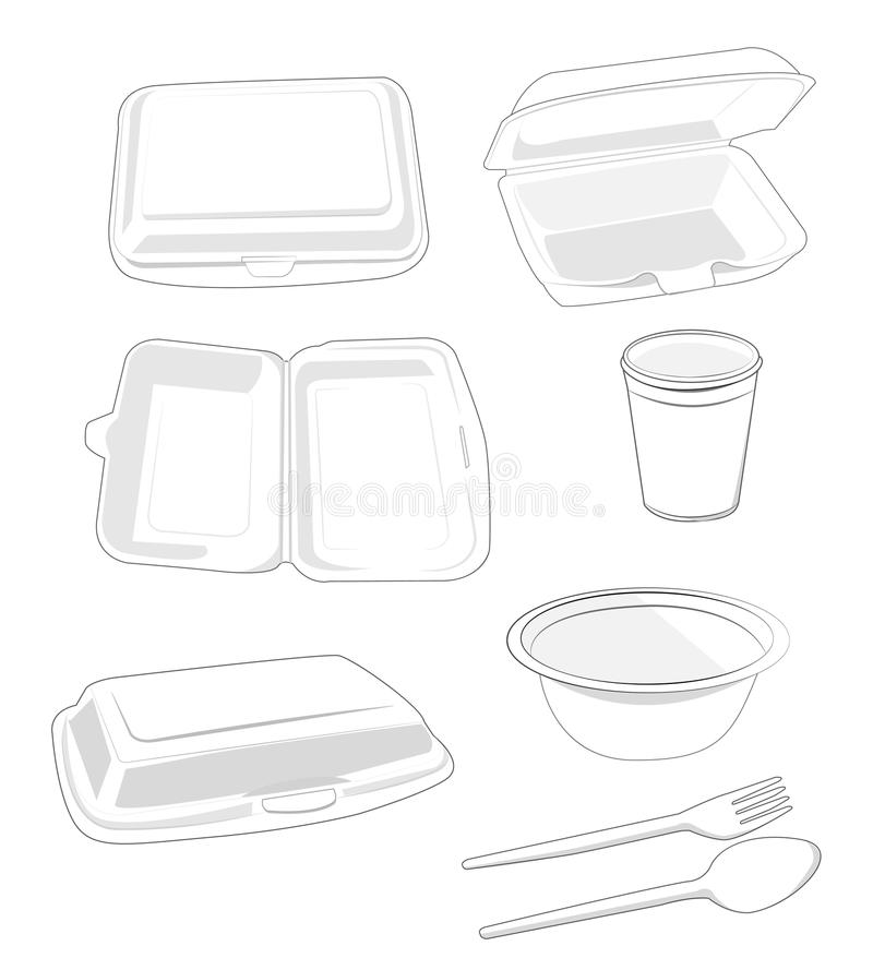 Styrofoam. White on white background vector illustration