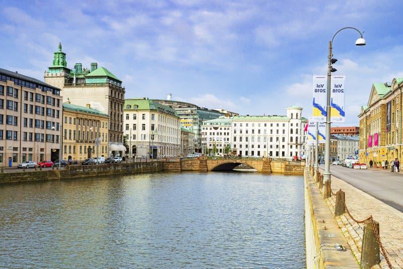 Suécia de Gothenburg do canal de Stora Hamn foto de stock