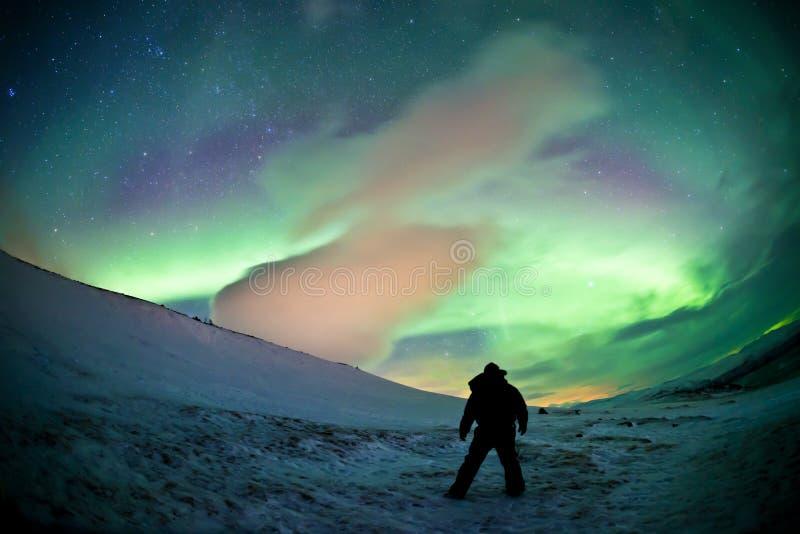 Suécia do norte - Aurora da aurora boreal fotos de stock royalty free