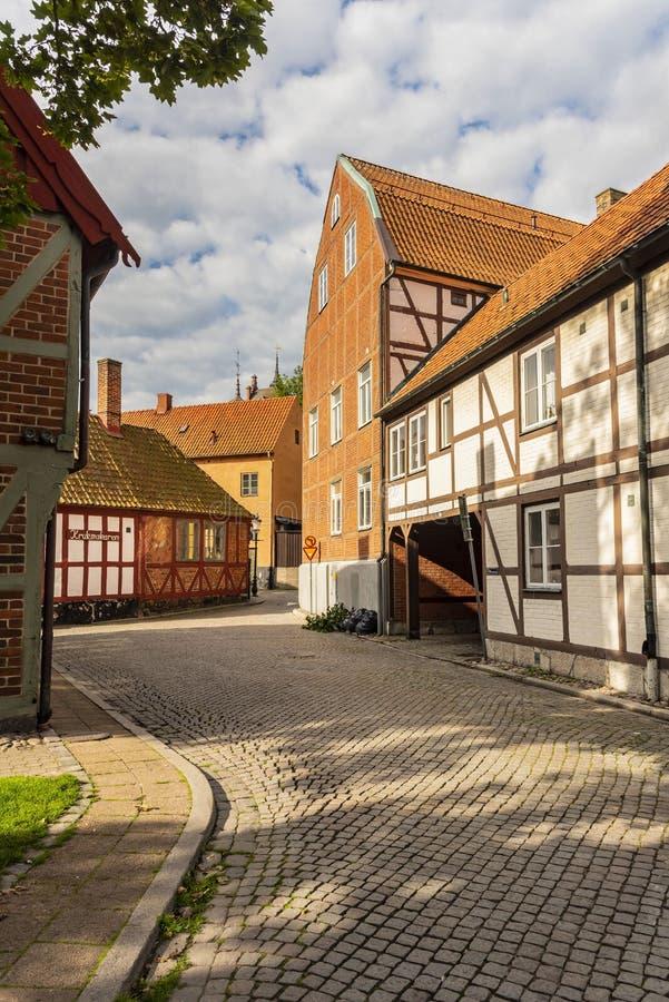 Suécia medieval Metade-suportada de Ystad das casas residenciais fotografia de stock royalty free