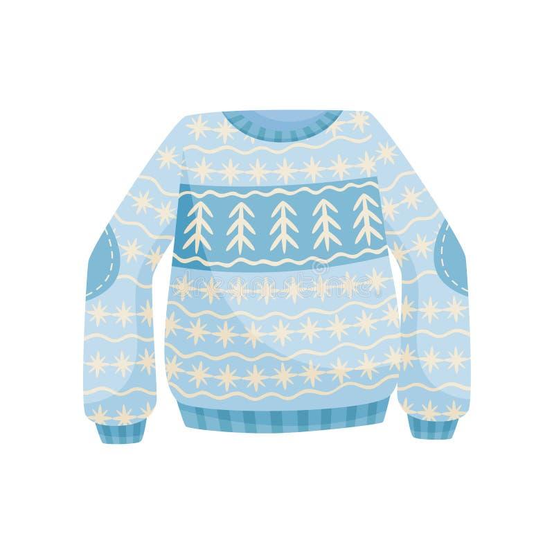 Suéter azul de la Navidad con el ornamento noruego, ejemplo caliente hecho punto del vector del puente en un fondo blanco libre illustration