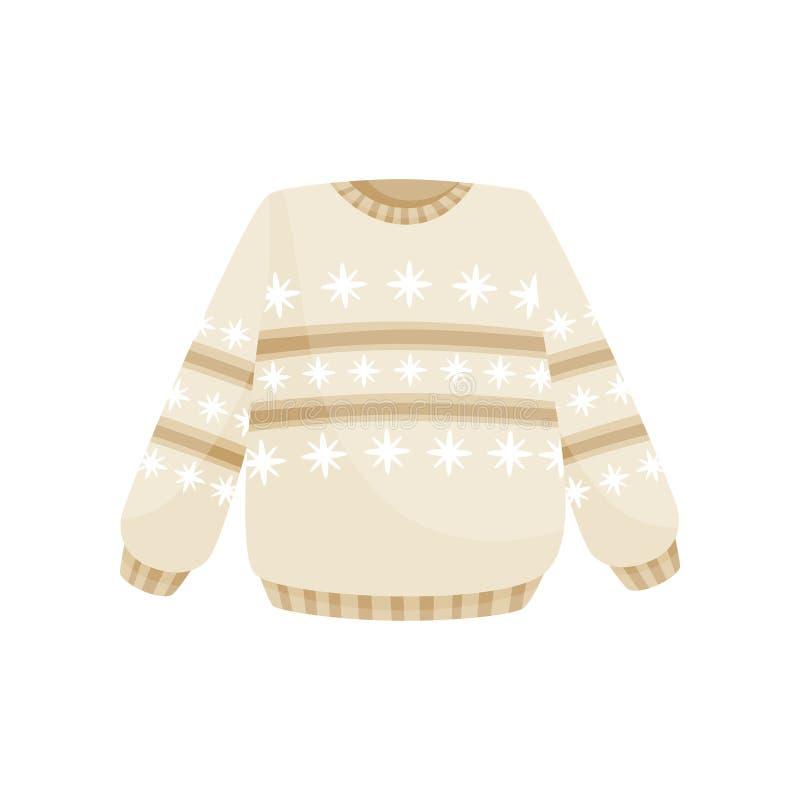 Suéter beige de la Navidad con el ornamento noruego, ejemplo caliente hecho punto del vector del puente en un fondo blanco libre illustration