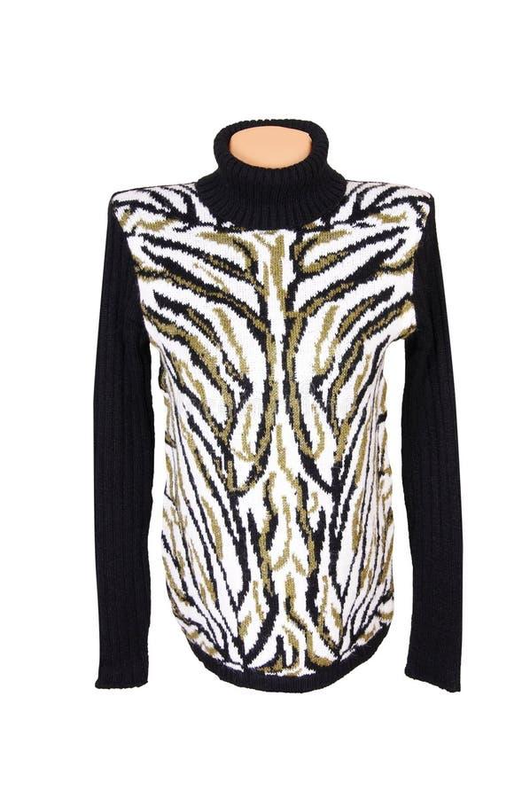 Suéter caliente con estilo en un blanco. imagenes de archivo