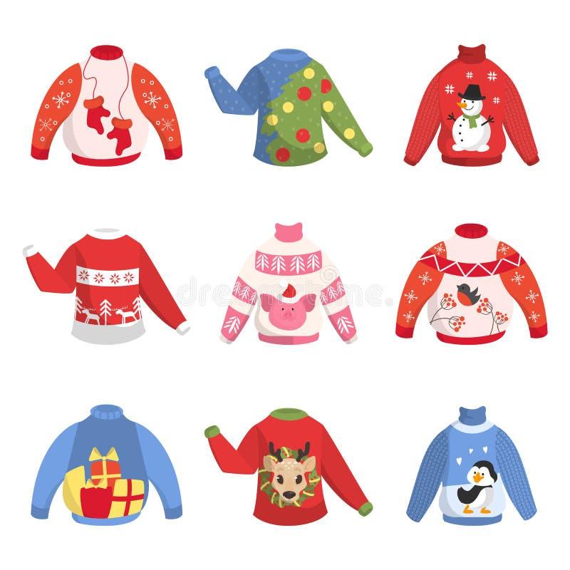 Suéter caliente lindo de la Navidad para el sistema del invierno stock de ilustración