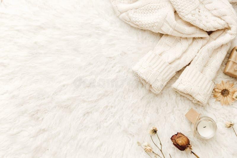 Suéter caliente y flores secadas en el fondo blanco fotografía de archivo libre de regalías