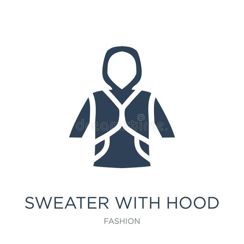 suéter con el icono de la capilla en estilo de moda del diseño suéter con el icono de la capilla aislado en el fondo blanco suéte libre illustration
