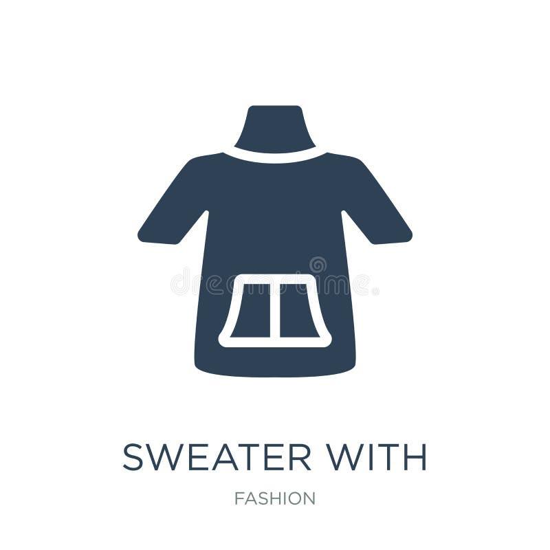 suéter con el icono de los bolsillos en estilo de moda del diseño suéter con el icono de los bolsillos aislado en el fondo blanco ilustración del vector