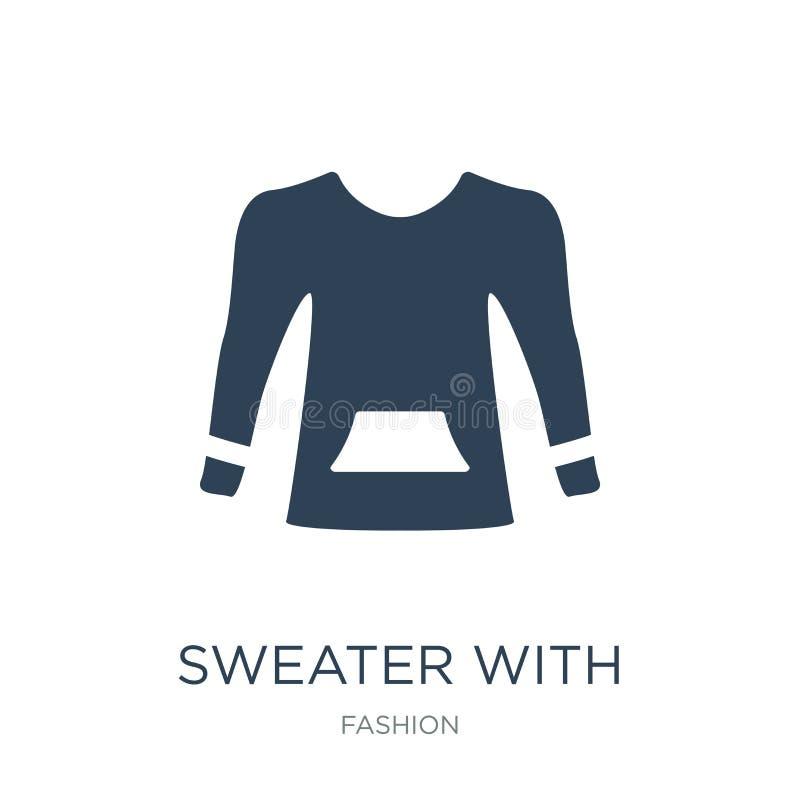 suéter con el icono del bolsillo en estilo de moda del diseño suéter con el icono del bolsillo aislado en el fondo blanco suéter  stock de ilustración