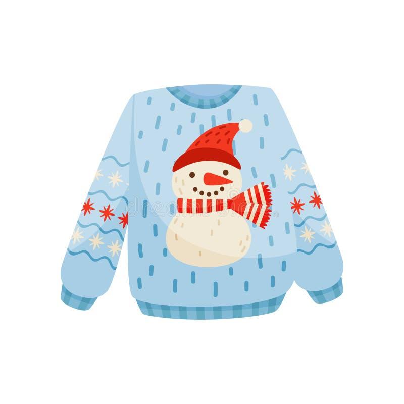 Suéter de la Navidad con el muñeco de nieve lindo, ejemplo caliente hecho punto del vector del puente del invierno en un fondo bl libre illustration