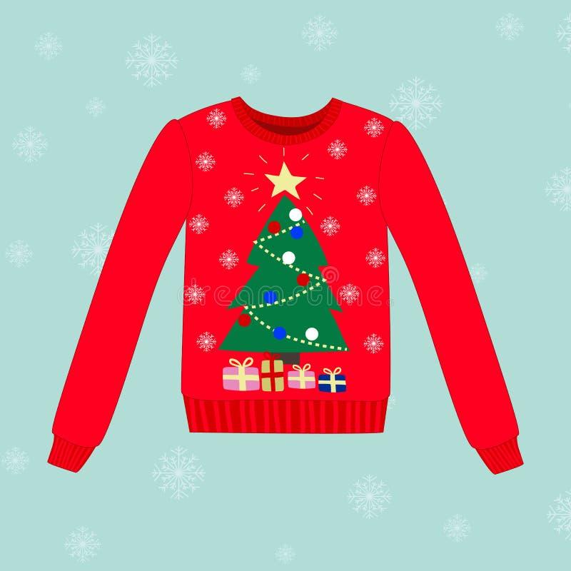 Suéter de la Navidad en fondo azul con los copos de nieve stock de ilustración