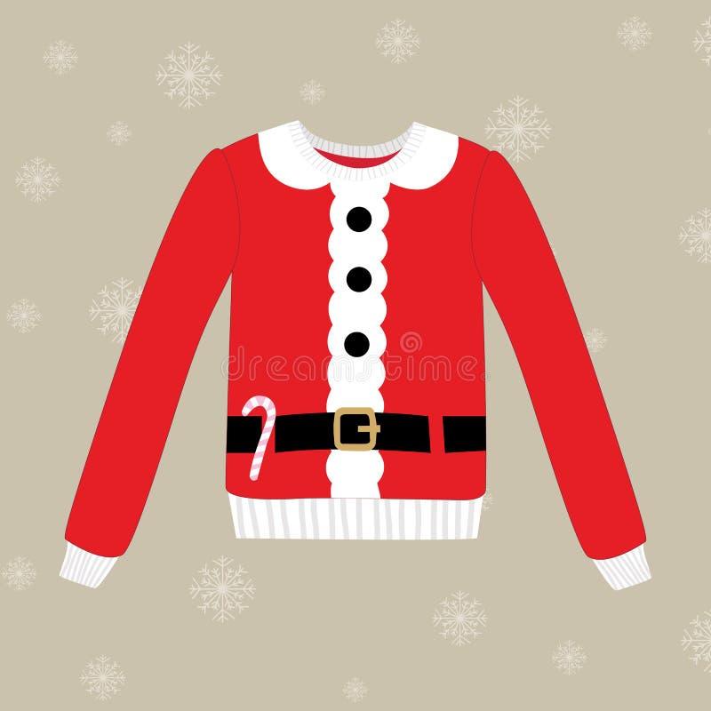 Suéter de la Navidad en fondo con los copos de nieve ilustración del vector