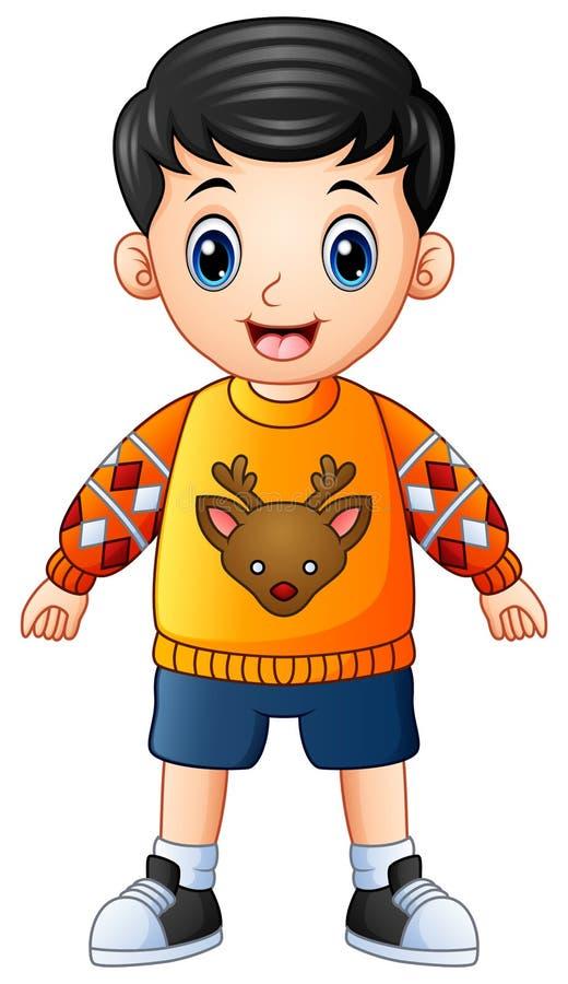 Suéter de la Navidad de la historieta feliz del muchacho que lleva stock de ilustración
