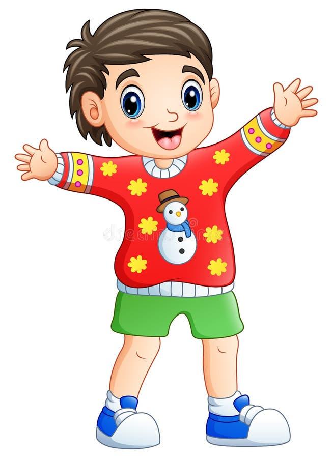 Suéter de la Navidad de la historieta feliz del muchacho que lleva libre illustration