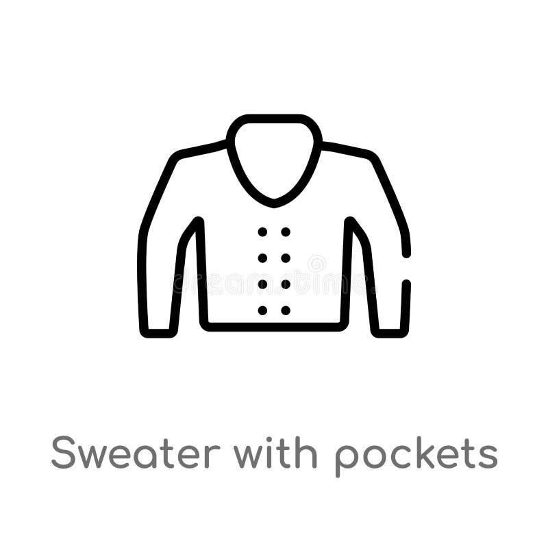 suéter del esquema con el icono del vector de los bolsillos línea simple negra aislada ejemplo del elemento del concepto de la mo stock de ilustración