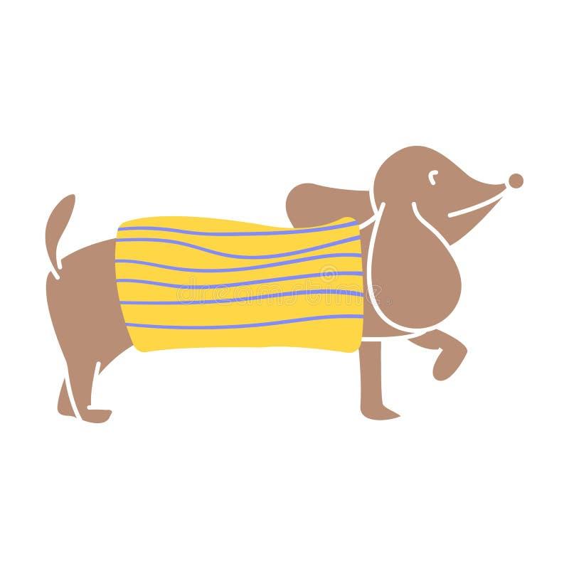 Suéter del punto del carácter del perro basset que lleva de diversos modelos Diseño plano del ejemplo del vector ilustración del vector