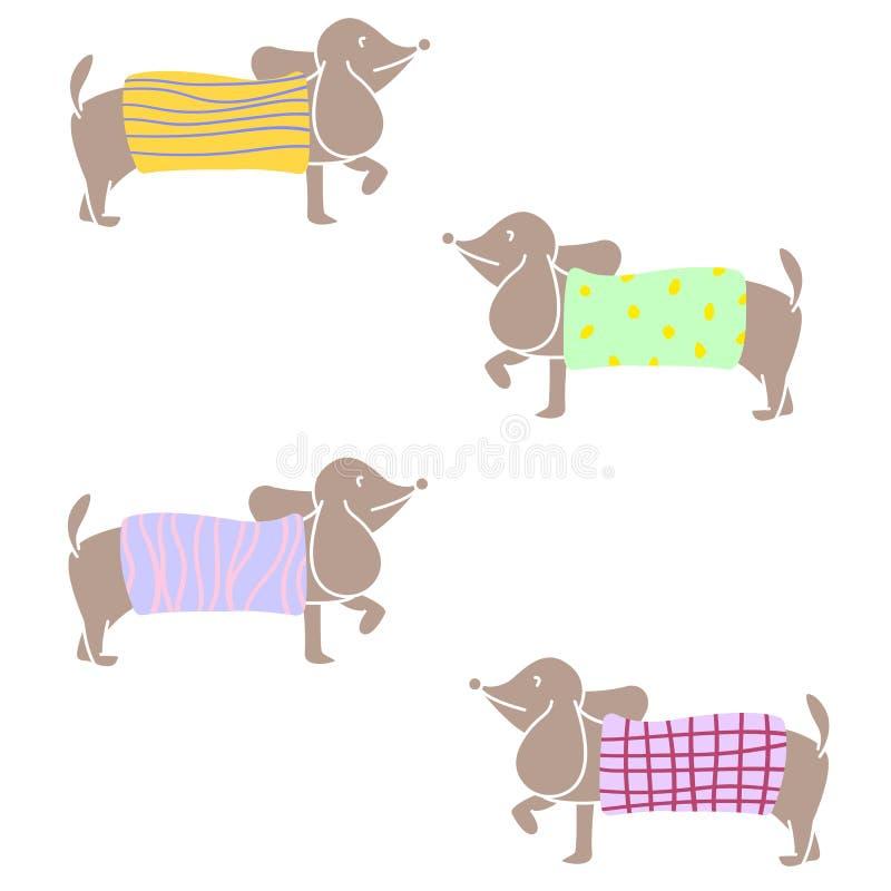 Suéter del punto del carácter del perro basset que lleva de diversos modelos Diseño plano del ejemplo del vector libre illustration