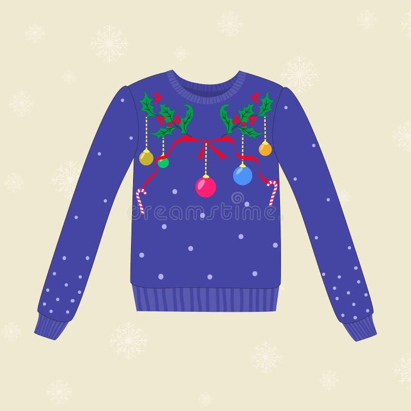 Suéter dibujado mano de la Navidad con las decoraciones de la Navidad stock de ilustración