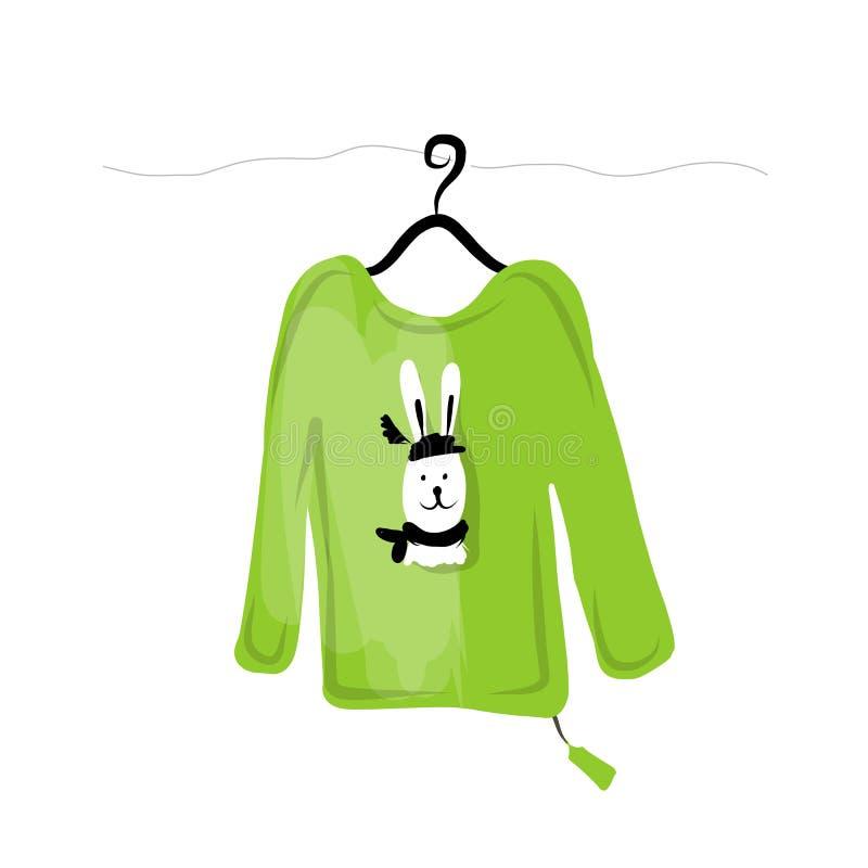 Suéter en suspensiones con diseño divertido del conejo ilustración del vector