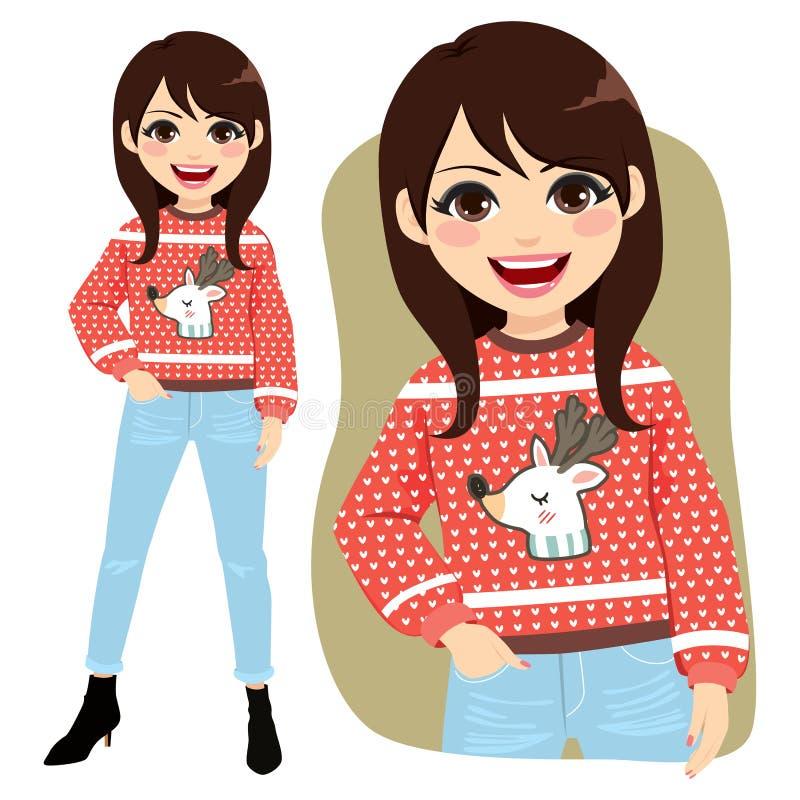 Suéter feo de la Navidad ilustración del vector