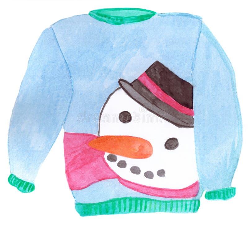 Suéter feo de la Navidad stock de ilustración