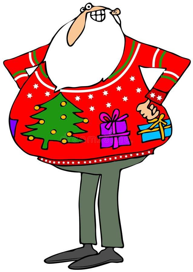 Suéter feo de la Navidad de Santa'a stock de ilustración