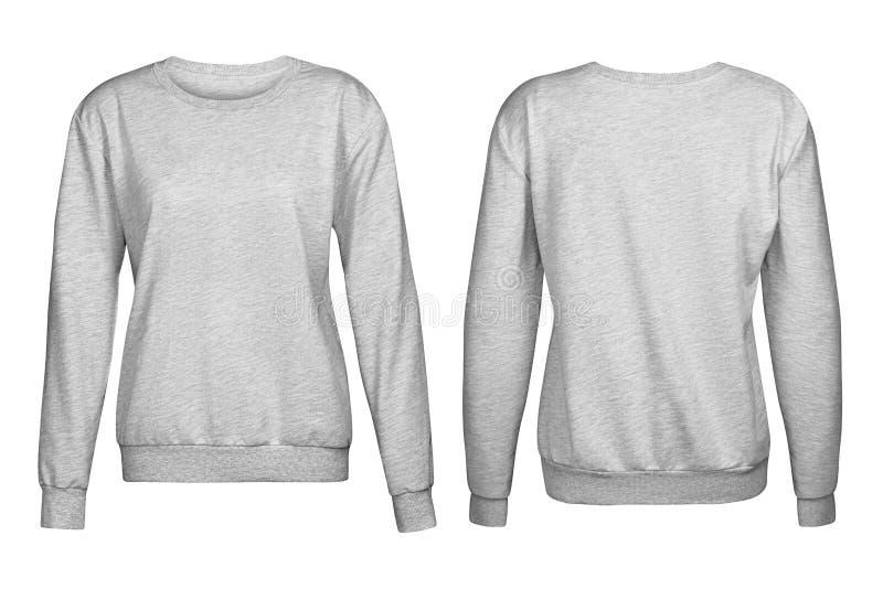 Suéter gris, maqueta, fondo blanco foto de archivo libre de regalías