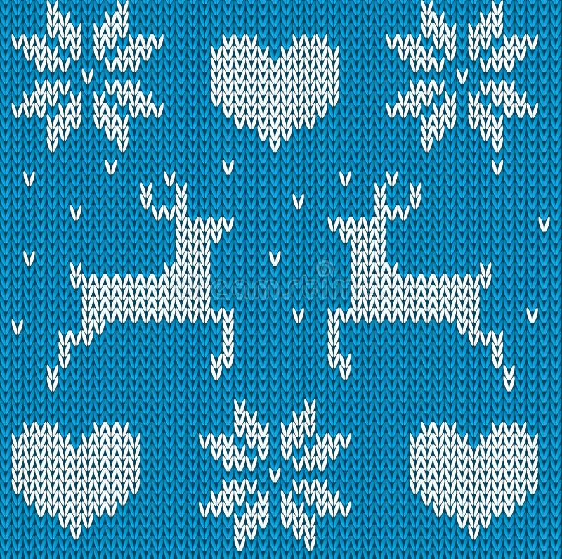 Suéter hecho punto azul de los ciervos en estilo noruego Scandinav hecho punto stock de ilustración