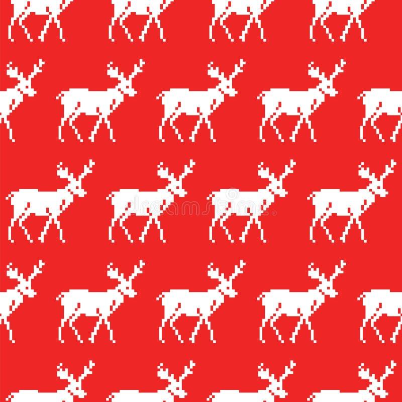 Suéter hecho punto con el modelo inconsútil de los ciervos La Navidad libre illustration
