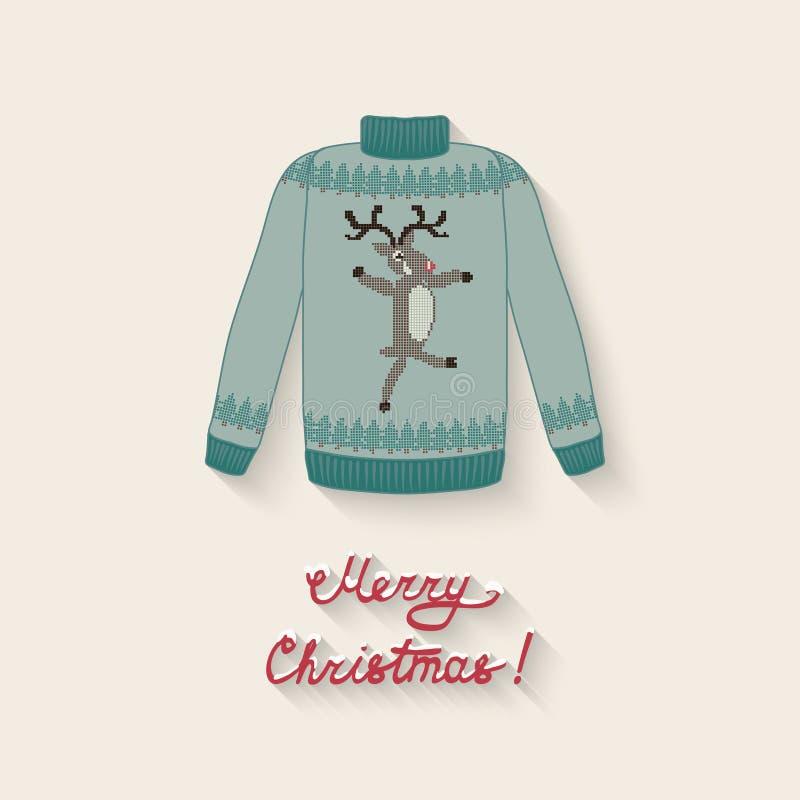 Suéter lindo con los ciervos de la Navidad ilustración del vector