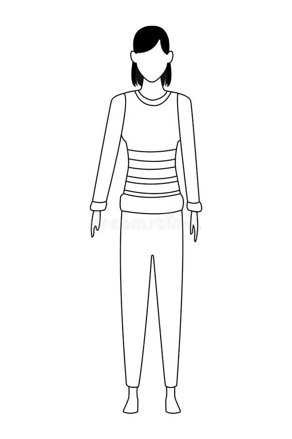 Suéter que lleva de la mujer blanco y negro ilustración del vector