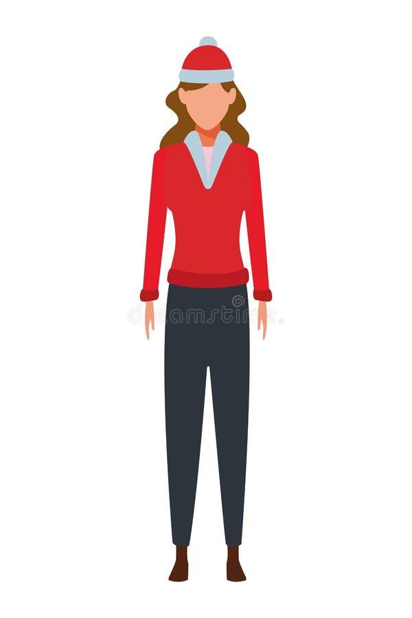 Suéter que lleva de la mujer y casquillo hecho punto ilustración del vector