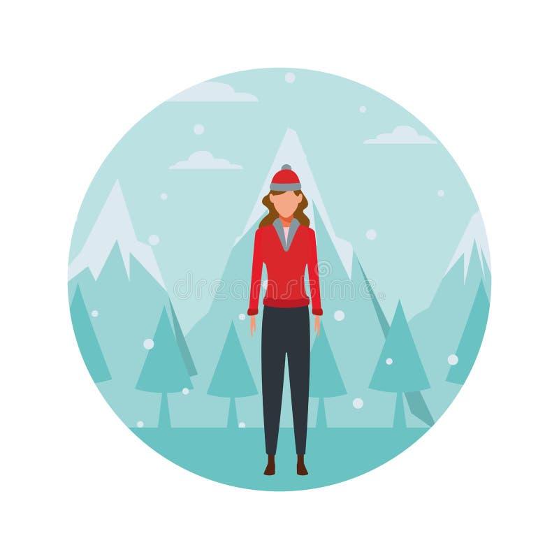 Suéter que lleva de la mujer y casquillo hecho punto libre illustration