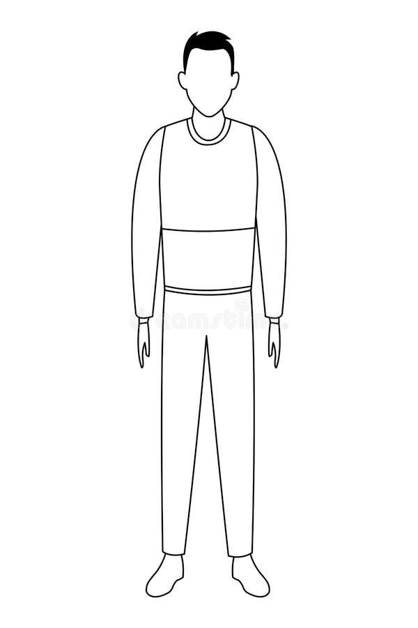Suéter que lleva del hombre joven blanco y negro libre illustration