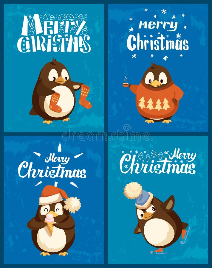 Suéter que lleva del pingüino de la Feliz Navidad con el pino stock de ilustración