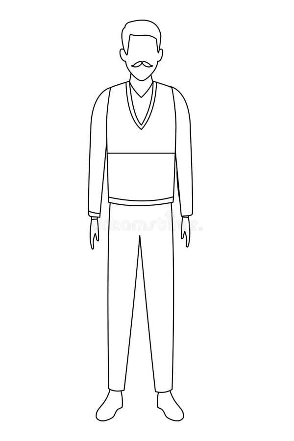 Suéter que lleva del viejo hombre blanco y negro ilustración del vector
