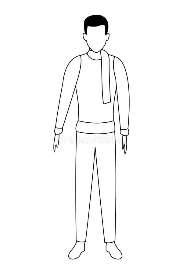Suéter y bufanda que llevan del hombre blancos y negros libre illustration