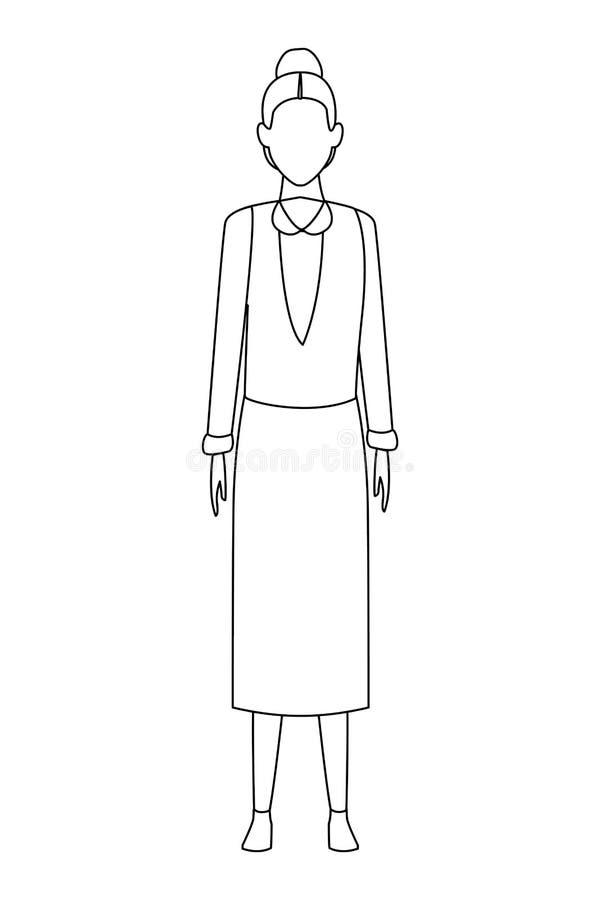 Suéter y falda que llevan de la mujer mayor blancos y negros stock de ilustración