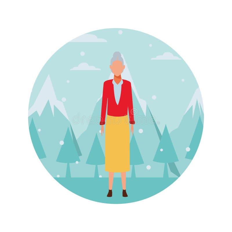 Suéter y falda que llevan de la mujer mayor libre illustration