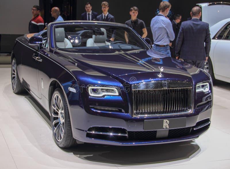 Suíça; Genebra; 9 de março de 2019; Alvorecer de Rolls royce; A 89th exposição automóvel internacional em Genebra do 7a ao 17a de foto de stock royalty free