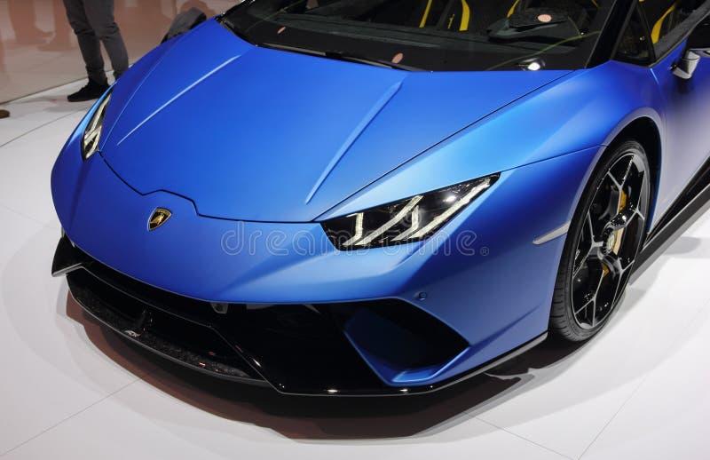 Suíça; Genebra; 8 de março de 2018; Lamborghini Huracan Performa fotografia de stock royalty free