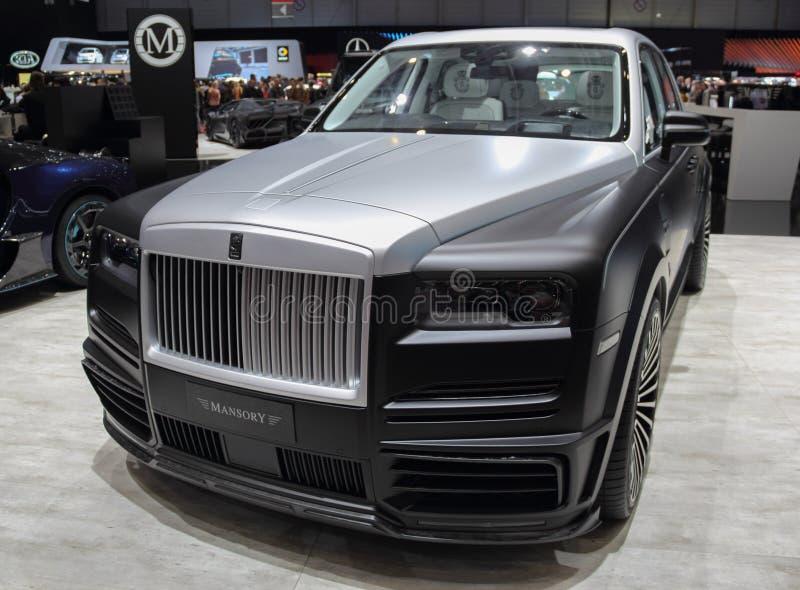 Suíça; Genebra; 9 de março de 2019; Multimilionário Rolls royce Cullinan de Mansory; A 89th exposição automóvel internacional em  fotografia de stock royalty free