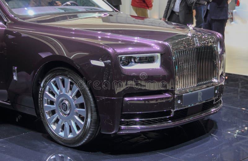 Suíça; Genebra; 8 de março de 2018; O Rolls Royce Phantom VIII - parte dianteira; a 88th exposição automóvel internacional em Gen fotos de stock royalty free