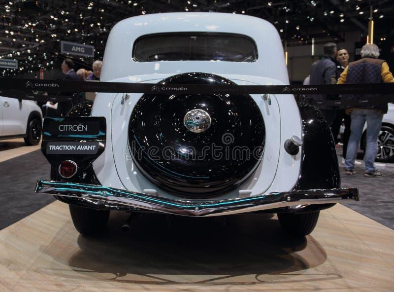 Suíça; Genebra; 11 de março de 2019; Tração Avant de Citroen, vista traseira; A 89th exposição automóvel internacional em Genebra fotos de stock