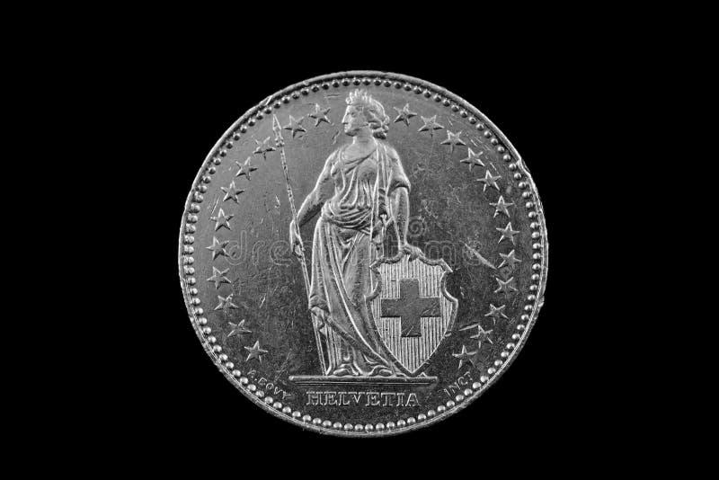 Suíço dois Franc Coin Isolated On um fundo preto foto de stock