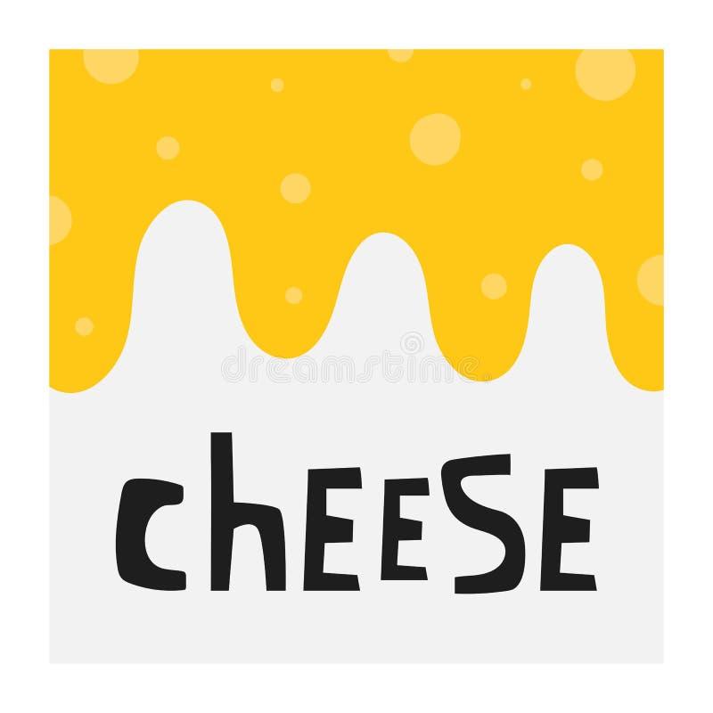 Suíço tirado mão, fundo do queijo cheddar com rotulação de citações para o restaurante da loja da loja do menu ilustração royalty free